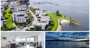 Engersand Havn: Påkostet 4-roms front/toppleilighet i strandhus ved sjøkanten – Fantastisk fjordutsikt – Terrasse – Carport –