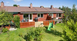 Konnerud/Drammen – Familievennlig rekkehus over 2 plan i et meget barnevennlig område, med 3 soverom, stor terrasse og god lagringsplass. Egen garasje. Nær skog og mark, ikke langt fra byen!