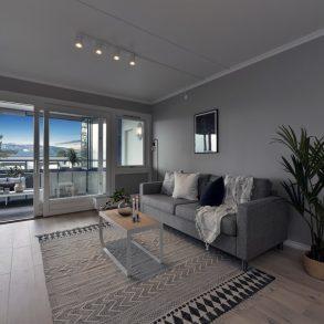 Tranby/Lier Lekker 2-roms med stor vestvendt innglasset balkong – Gode sol/utsiktsforhold – Garasjeplass – Oppvarming/varmtvann inkl.