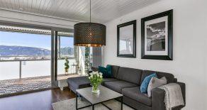 Tranby/Lier Pen 2-roms med stor vestvendt innglasset balkong – Gode sol/utsiktsforhold – Garasjeleie – Oppvarming/varmtvann inkl.
