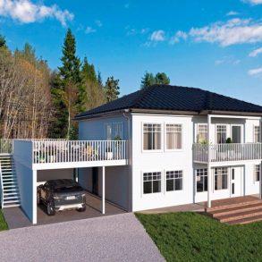 Konnerud – Arkitekttegnet enebolig under oppføring – Lavenergihus – Hybel – Carport – Solrik terrasse – Ferdig Feb. 2021